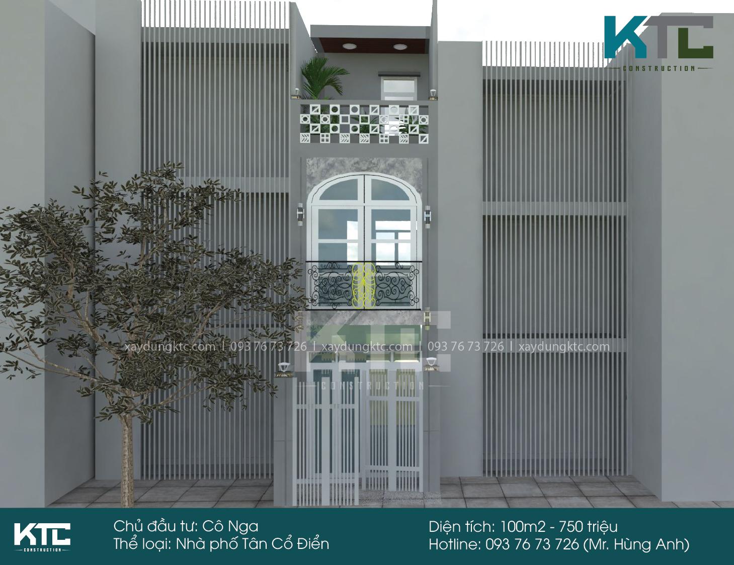 Thiết kế mẫu nhà 2 mặt tiền 2 tầng đẹp của Cô Nga - Quận 1