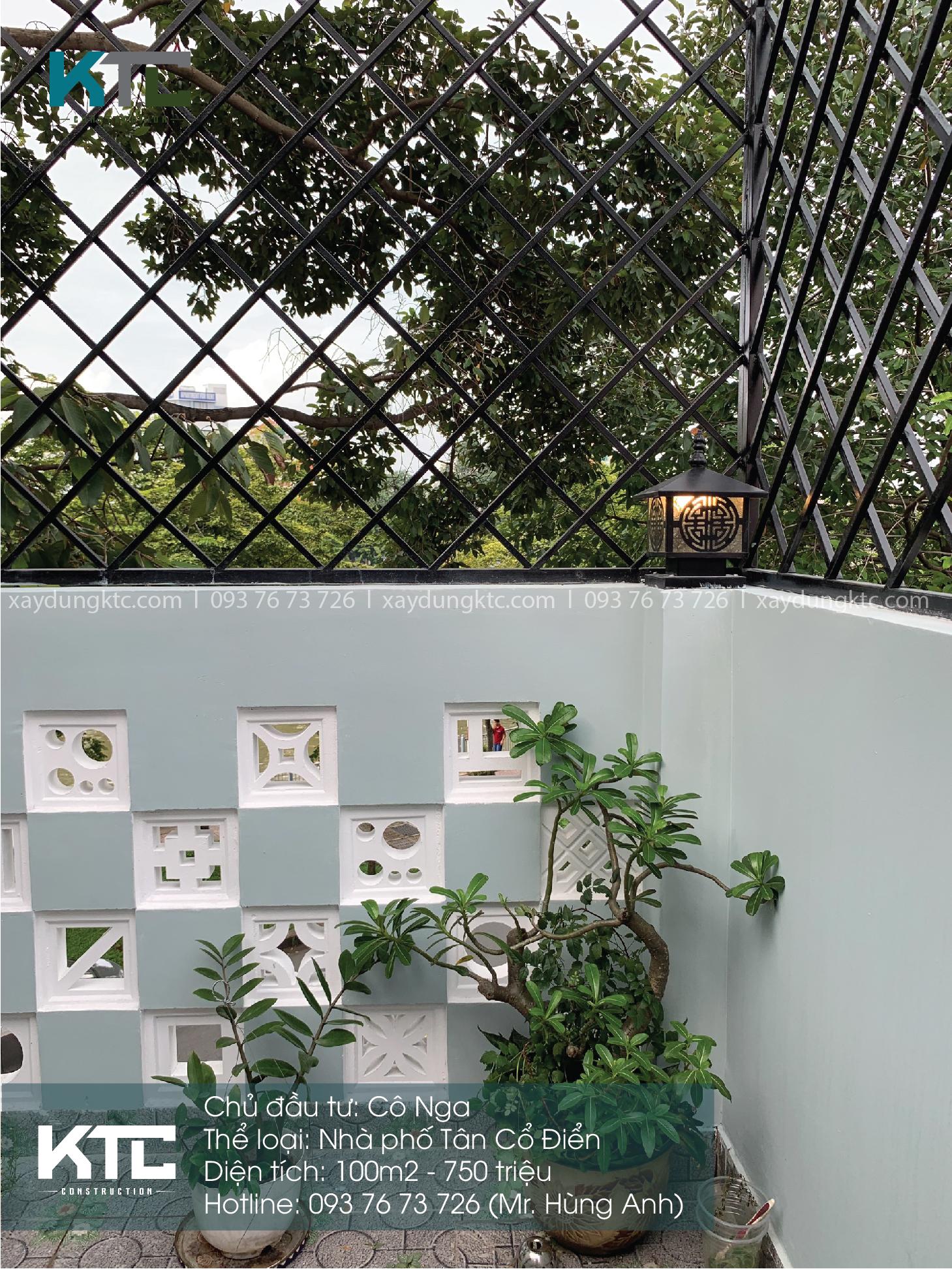Một góc sân thượng tone xanh trắng thanh lịch