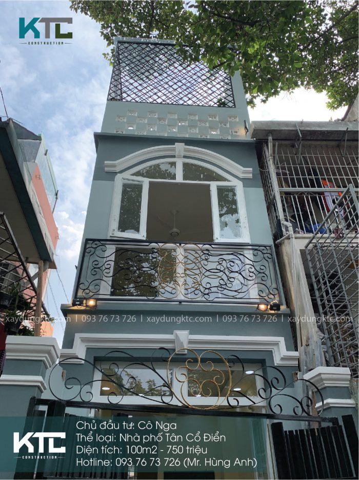 Mẫu nhà 2 mặt tiền 2 tầng đẹp thanh lịch của cô Nga ở Quận 1