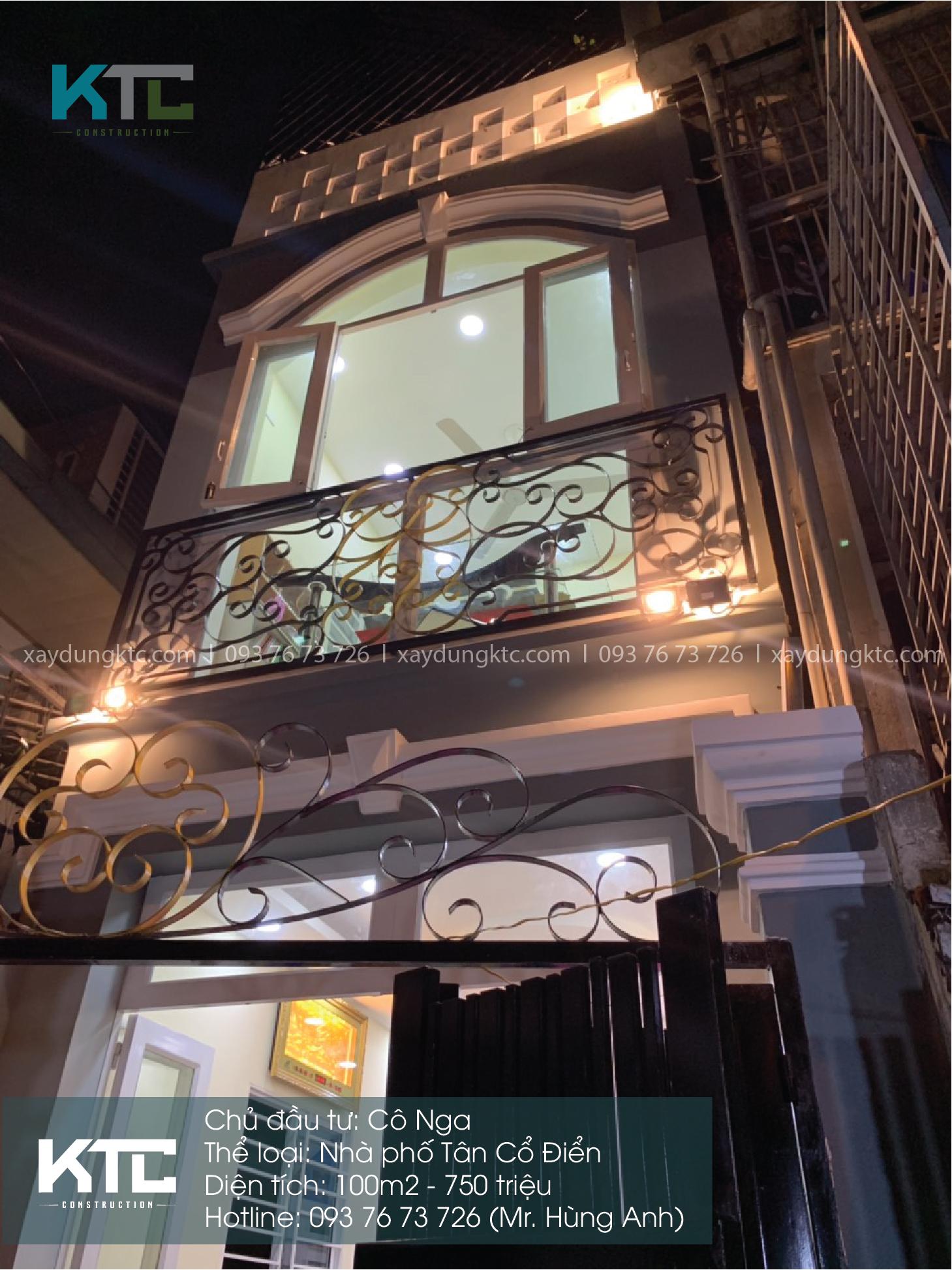 Mẫu nhà 2 tầng 2 mặt tiền của cô Nga nổi bật về đêm khi lên đèn
