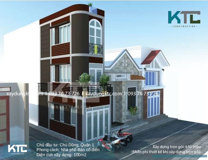 Mẫu thiết kế phối cảnh mẫu nhà ống đẹp 3 tầng để chú Dũng duyệt và hình dung căn nhà của mình sau thi công