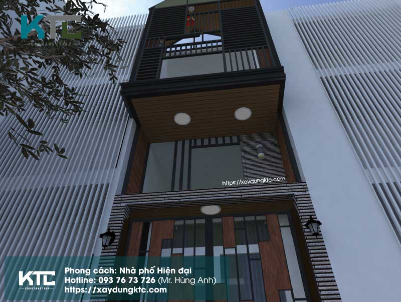 Mẫu nhà hiện đại 2 tầng có gác lửng phối cảnh nhìn từ dưới lên