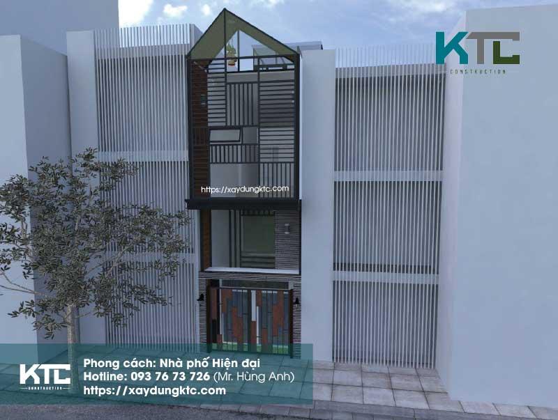 mẫu nhà hiện đại 2 tầng có gác lửng với tone màu nâu gỗ phối cảnh mặt đứng