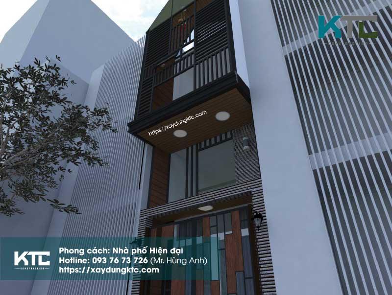 mẫu nhà hiện đại 2 tầng có gác lửng với tone màu nâu gỗ