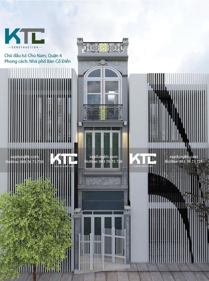 mẫu nhà phố 3 tầng tân cổ điển của chú Nam