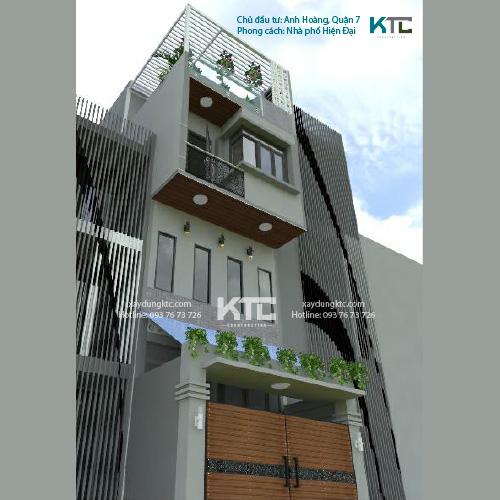 mẫu nhà 2 mặt tiền 3 tầng hiện đại của anh Hoàng