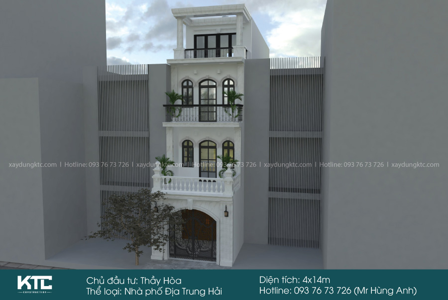 mẫu nhà 1 trệt 2 lầu đẹp phong cách Địa Trung Hải